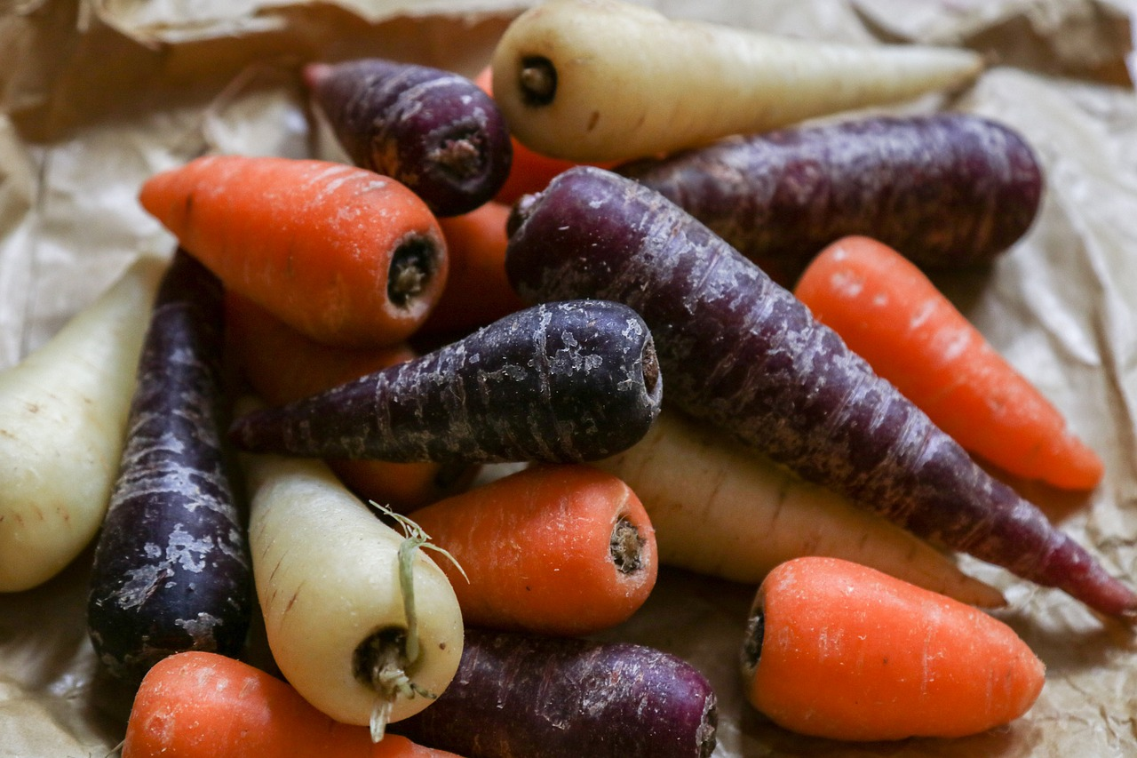 Benefícios das cenouras coloridas