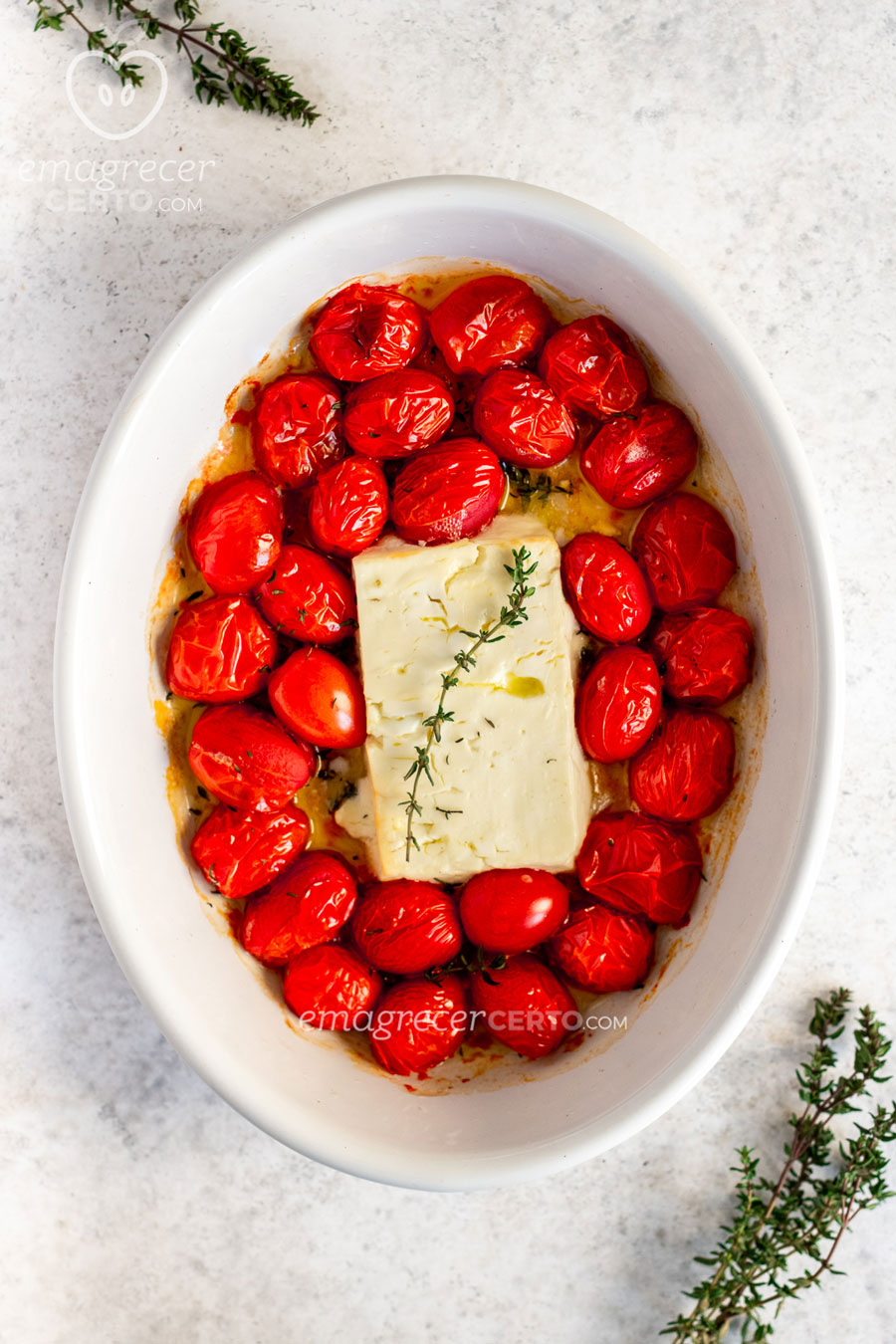 Queijo feta assado com tomate cereja - Emagrecer Certo